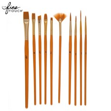 Gold Taklon Paint Brushes - 10 Piece Set