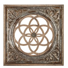 Galvanized Square Flourish Metal Wall Decor