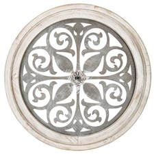 White Flower Medallion Wood Wall Decor