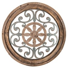Brown Flower Medallion Wood Wall Decor